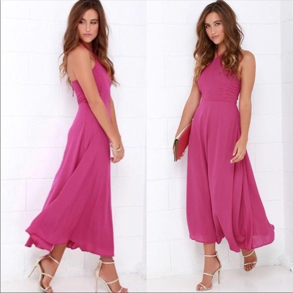 d721d8fa57fa Lulu's Dresses & Skirts - Lulu's Calligraphy Class Magenta Halter Midi Dress